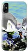 Psychedelic Mute Swan And Cygnet Feeding IPhone Case