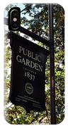 Public Garden 1837 Boston IPhone Case