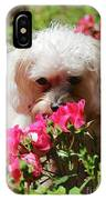 Puppy With Roses IPhone Case