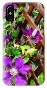 Purple Clematis On Trellis IPhone Case