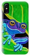 Purple Frog Peeking Through IPhone Case