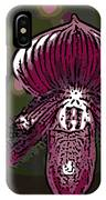 Purple Orchid Woodcut IPhone Case