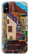 Quebec City Street Scene  Caleche Ride IPhone Case