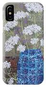 Queen Anne's Lace In Blue Vase IPhone X Case
