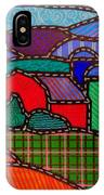 Quilted Red Barn And Mountains IPhone Case