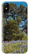 Quintessential Texas Hill Country County Road Bluebonnets And Oak - Llano IPhone Case