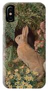 Rabbit Amid Ferns And Flowering IPhone Case
