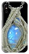 Rainbow Moonstone And Sterling Silver Wire-wrapped Pendant With Ethiopian Welo Opals - Mnstpss11 IPhone Case