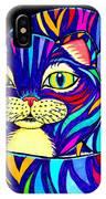 Rainbow Striped Cat 2 IPhone Case
