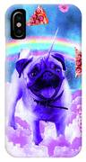 Rainbow Unicorn Pug In The Clouds In Space IPhone Case