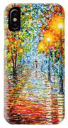 Rainy Autumn Evening In The Park Acrylic Palette Knife Painting IPhone X Case