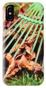 Raking The Fallen Autumn Leaves IPhone Case