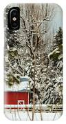 Red Barn At Christmas IPhone Case
