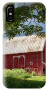 Red Barn With White Arched Door Trim IPhone Case