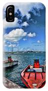 Red Boats At Blue Pier IPhone Case