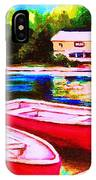 Red Boats At The Lake IPhone Case
