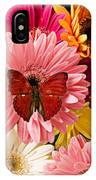 Red Butterfly On Bunch Of Flowers IPhone Case