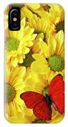 Red Butterfly On Yellow Mums IPhone Case