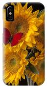 Red Butterfly With Four Sunflowers IPhone Case