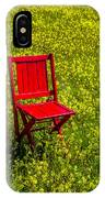 Red Chair Amoung Wildflowers IPhone Case