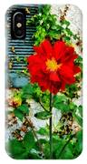 Red Dahlia By Window IPhone Case