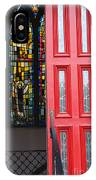 Red Door At Church In Front Of Stained Glass IPhone Case