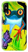 Red Eyed Tree Frog And Purple Butterfly IPhone Case