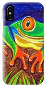 Red-eyed Tree Frog And Starry Night IPhone Case