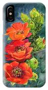Red Flowering Prickly Pear Cactus IPhone Case