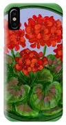 Red Geranium On Wood IPhone Case