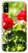 Red Geraniums Triptych IPhone Case
