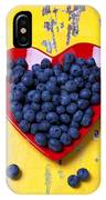 Red Heart Plate With Blueberries IPhone X Case