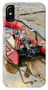 Red Inflatable Boat With Motor In Musselburgh Haven. IPhone Case