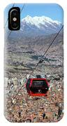 Red Line Cable Car Cabin And Mt Illimani Bolivia IPhone Case