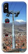 Red Line Cable Cars And Mt Illimani La Paz Bolivia IPhone Case