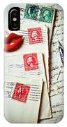 Red Lips Pin And Old Letters IPhone Case