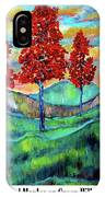 Red Maples On Green Hills With Name And Title IPhone Case