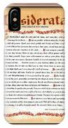Red Matted Floral Scroll Desiderata Poem IPhone Case