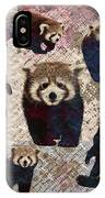 Red Panda Abstract Mixed Media Digital Art Collage IPhone Case