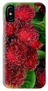 Red Rambutan And Green Leaves IPhone Case
