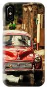Red Retromobile. Morris Minor IPhone Case
