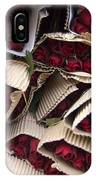 Red Roses Wrapped In Paper Displayed IPhone Case