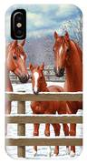 Red Sorrel Quarter Horses In Snow IPhone X Case