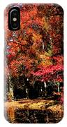 Red Trees By Lake IPhone Case