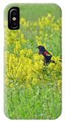 Red-winged Blackbird In Wild Mustard IPhone Case