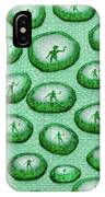 Reflection Of Waving Man In Water Droplets On Green IPhone Case