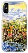Reindeer Herd At The Watering Hole. IPhone Case