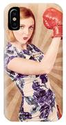 Retro Pinup Boxing Girl Fist Pumping Glove Hand  IPhone Case