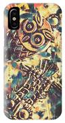 Retro Pop Art Owls Under Floating Feathers IPhone Case