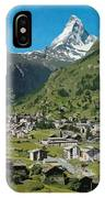 Retro Swiss Travel Zermatt And Mount Matterhorn  IPhone Case
